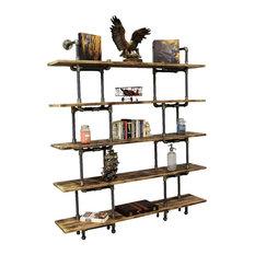 Eugene Modern Industrial Bookcase Brushed Brass Gray Steel/Natural Wood