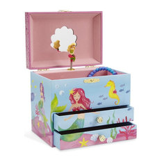 Jewelkeeper Musical Jewelry Box With 2 Pullout Drawers Mermaid Blue And Pink