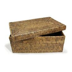 Rattan Rectangular Storage Basket With Lid, Large