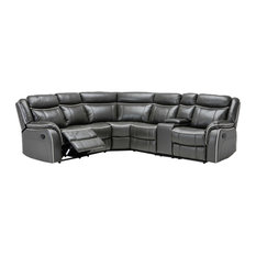 Divano Roma Furniture - Classic Large Bonded Leather Reclining Corner Sectional Sofa, Gray - Sectional Sofas