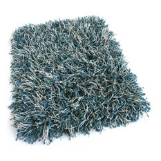 Koeckritz Rugs - Round Peacock Blue Shaggy Area Rug With Polyester Edges, 5' - Area Rugs