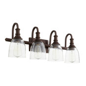 QUORUM 5011-4-186 Richmond 4-Light Vanity Light, Oiled Bronze with Clear Seeded