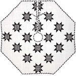 "VHC Brands - Emmie Black 48"" Patchwork Tree Skirt - Countrify your Christmas this year with the 48"" Emmie Black Patchwork Tree Skirt. A holiday significant 7 rows of 8-point stars are placed on a bright white background. Reverses to the black and white check found inside the stars. 100% cotton, hand-quilted."
