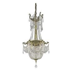 Elegant Esperanza Dining Room Light, French Gold Finish With Elegant Cut Crystal