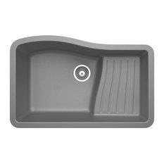 Swan 32x21x10.6 Granite Undermount Kitchen Sink, 1-Hole, Metallico