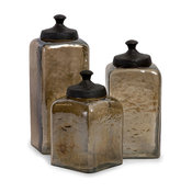 Square Brown Luster Canisters, Set of 3