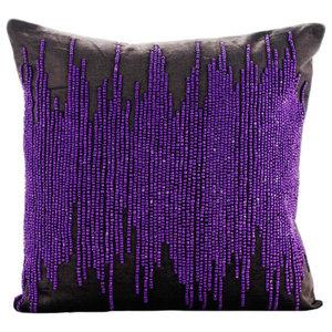 Gray Velvet 35x35 Purple Gunmetal Beaded Cushions Cover, Charcoal Spill