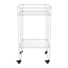 "35"" Metal and Glass Bar Cart, White"