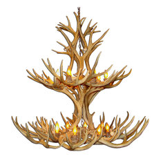 Real Shed Antler Multi-Tier Mule Deer Chandelier, Large, With Parchment Shades