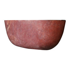 Piedra Orion Free Standing Bathtub in Red Travertine Hand Carved Stone