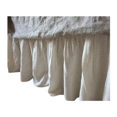 """Cream Linen Bed Skirt, King, 22"""" Drop"""