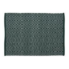 Handwoven Deep Green Diamonds Cotton Rug, 60x90 Cm