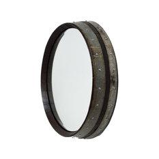 Dark Walnut Wine Barrel Mirror