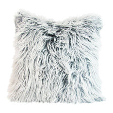 Faux Fur Pillow Cover, White and Gray