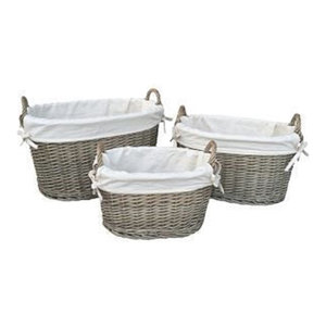 White Lined Antique Wash Oval Wicker Storage Basket, Small