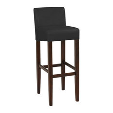 Brooklyn Contemporary Wood/Faux Leather Barstool - 32-inch Bar Height Stool For Kit