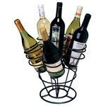 Oenophilia - Bottle Bouquet - A different sort of wine rack, the Bottle Bouquet Wine Rack serves as  both a storage device and a dazzling centerpiece, creating a floral-like  arrangement of your bottles of wine. Easily stores 6 bottles facing  either up, for legibility purposes, or down, to keep the corks wet.  Comes pre-assembled. Available in black and gunmetal finishes.