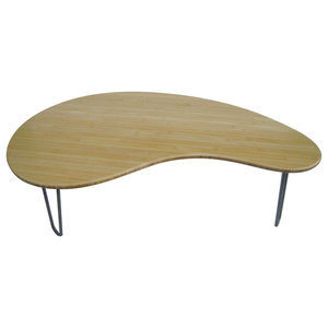 Zenn Coffee Table With Metal Legs Midcentury Coffee