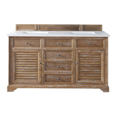 "Savannah 60"" Driftwood Double Vanity w/ 3cm Snow White Quartz Top"