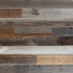 Plank and Mill - Reclaimed Barn Wood Planks, 50 sq. ft, No Adhesive - 100% Reclaimed Barn wood with back adhesive strips (Peel and Stick Installation) Made in America and handcrafted in Tulsa, Oklahoma.
