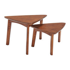 Alaterre Monterey 40L Set Of 2 Mid-Century Modern Nesting Tables - Warm Chestnut