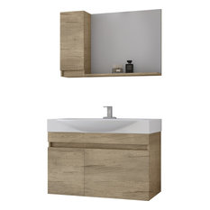 "DP Wall Bath Vanity Cabinet Set 33.5"" Single Sink With Laminated PL Wood Finish"