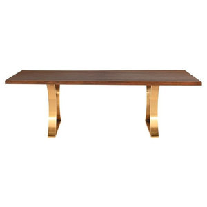 Danish seared oak top brushed gold legs 78""