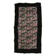 Floral Patterned Rug, Black Border