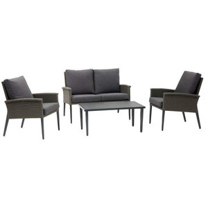 Ruby Outdoor Grey Rattan 4-Piece Furniture Set