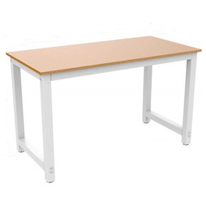 Modern Stylish Large Table Desk, Painted MDF With Steel Metal Frame, Brown