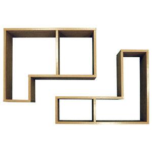 Twin Wall Display Floating Shelves, 2-Piece Set, Oak