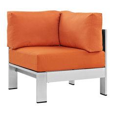 Shore Outdoor Patio Aluminum Corner Sofa, Cushion: Orange