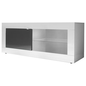 Dolcevita TV Stand, 140 cm, White Gloss/Grey