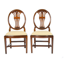 Oval Back Side Chairs With Inlay, Set of 2