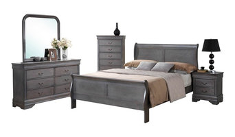 5-Piece Louis Philippe Driftwood Gray Sleigh Bedroom Collection