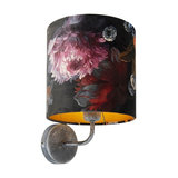 Vintage Wall Lamp Antique Grey with Shade 20/20/20 Velvet Floral with Gold