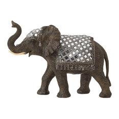 Polystone Mirror Elephant Sculpture, 14  x10