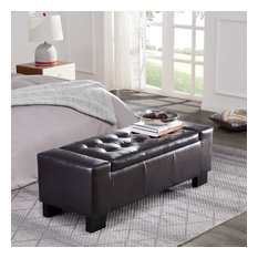 """Faux Leather Large Rectangular Storage Ottoman, 51"""", Brown"""