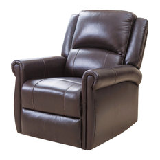 Abbyson Living - Elena Leather Swivel Glider Recliner, Brown - Recliner Chairs