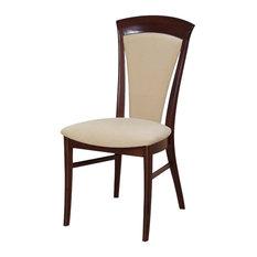 Beech Wood Dining Chairs, Mahogany, Set of 2