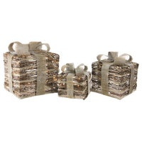 Lighted Rattan Gift Boxes With Bows Christmas Decorations, 3-Piece Set