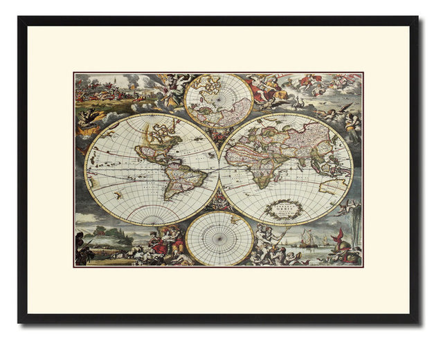 World Hemispheres Vintage Map Print On Canvas With Picture Frame 16 ...