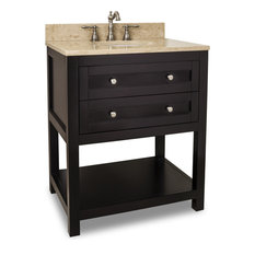 Jeffrey Alexander Astoria Modern Vanity, Espresso, With Light Marble Top