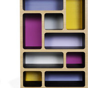 Boulder Display Unit Tall, Purple/Yellow/Gray Scheme
