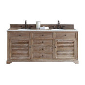 "72"" Double Vanity Cabinet, Driftwood, Galala Beige Stone Top"