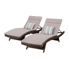 GDF Studio Aloha Outdoor Wicker Chaise Lounge With Cushions, Charcoal, Set of 2