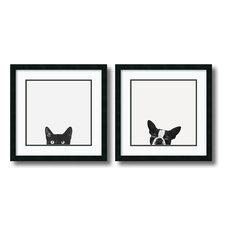 "Framed Art Print 'Curiosity and Loyalty  - set of 2', Jon Bertelli, 22""x22"" Each"