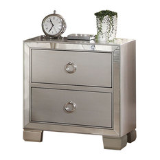 acme furniture voeville ii mirrored nightstand platinum nightstands and bedside tables - Contemporary Nightstands
