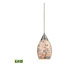 Capri 1 Light Led Pendant, Satin Nickel, Gray Capiz Shell
