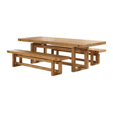 Besp Oak Winston Reclaimed Dining Table Set With 2 Benches